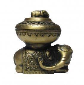 Handmade Chinese Elephant Motif Bronze Incense Burner