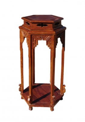 Chinese Huali Rosewood Hexagon Pedestal Plant Stand