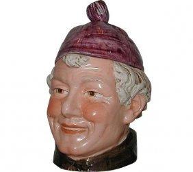 "Antique Majolica Tobacco Jar 8.5"" Man W Purple Hat"