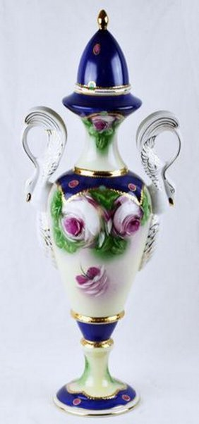 Vintage Hand Painted Porcelain Vase With Lid