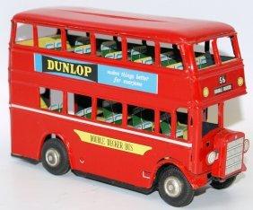Vintage Tin Friction Double Decker Bus, Dunlop &