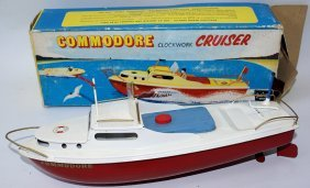 Vintage Commodore Clockwork Cruiser Tinplate Boat By