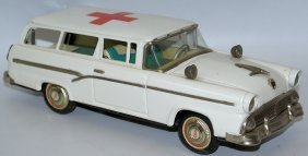 Vintage 1956 Friction Red Cross Ford Ambulance 2-door
