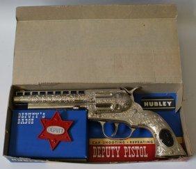 Vintage #254 Hubley Deputy Pistol Cap Gun And Badge In