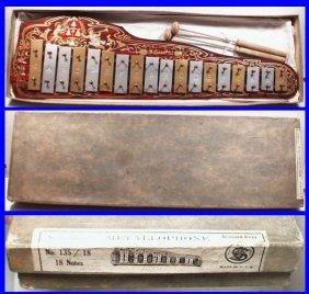 Vintage 1918 Schoenhut Metallophone Toy Xylophone With