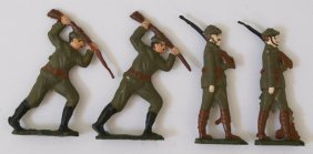 4 World War Us Army Military Lead Hand Painted Toy