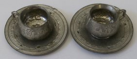 Early Pair Of Antique Victorian French Pewter Doll
