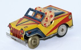 Vintage Tin Litho Friction Jeep With Terrier Dog Image