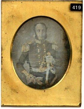 Daguerreotype Of A Military Gentleman With Sword