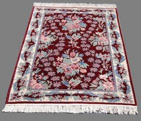Stunning English Floral Contemporary Hand Woven Rug,