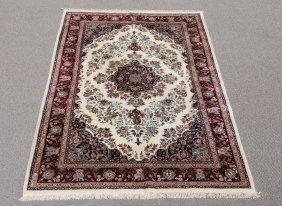 Beautiful Wool And Silk Tabriz Design Rug, 6 X 8.11
