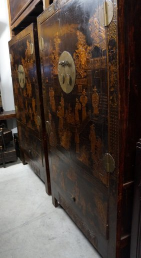 Pair Of Antique Black Lacquer Cabinet From Beijing With