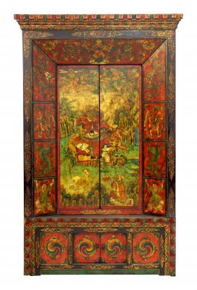 Colorful Large Painted Tibetan Cabinet With Warrior