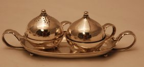 Georg Jensen Sterling Silver Condiment Set With Tray