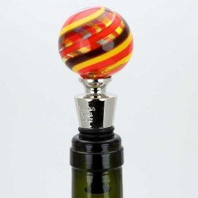 Murano Glass Bottle Stopper - Fire Stripes