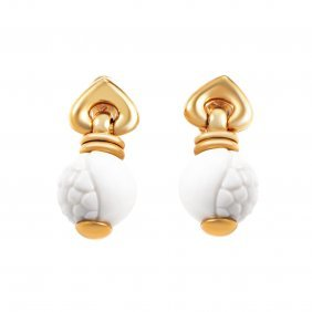 Bvlgari Chandra 18k Yellow Gold Ceramic Earrings