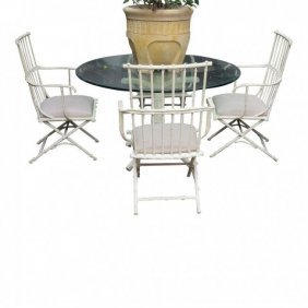Hollywood Regency Metal Bamboo Patio Outdoor Dinette