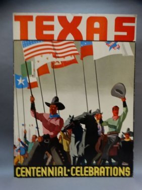 Texas Centennial Poster Cowboys Under Many Flags 1936