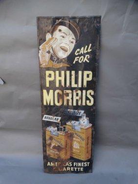Metal Sign Philip Morris Cigarettes 1950s