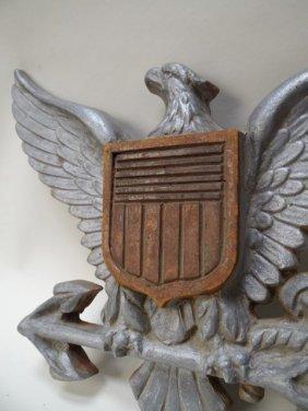 Cast Aluminum And Wood Naval Eagle Shield Insignia