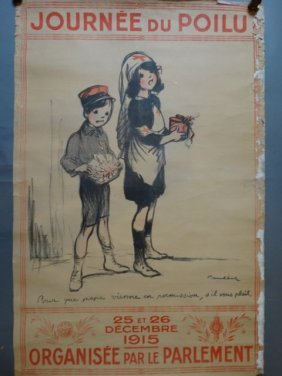 """French Wwi Poster """"soldier's Day…so Daddy Can Come Home"""