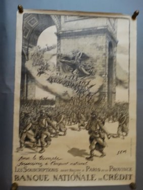 French World War One Patriotic Poster Banque Nationale