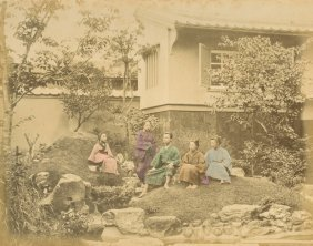 Japanese Family Group In A Garden , C1875
