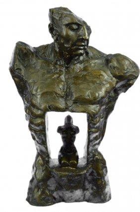 Decorative Heavy Bronze Sculpture On Marble Base