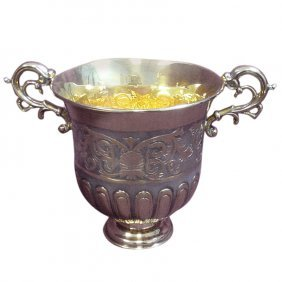 Tane Sterling Silver Gilt Vase Urn With Ornate Mexico