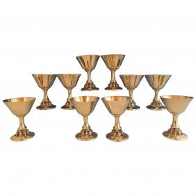 Woodside Sterling Silver Wine Cup Set Of Ten Pieces
