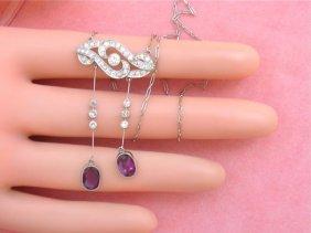 Estate Art Nouveau 1.15ctw Diamond 2.2ctw Ruby Drops