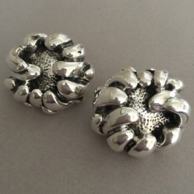 "Sterling Silver ""repousse"" Peony Earrings By Galmer"