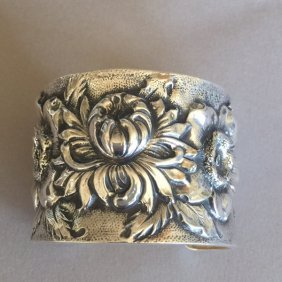 "Sterling Silver ""repousse"" Morning Bloom Cuff Bracelet"