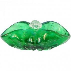 Barovier Murano Green Iridescent Art Glass Basket Bowl