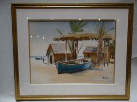 """Milford Zorne """"baja Shoreline"""" Watercolor"""