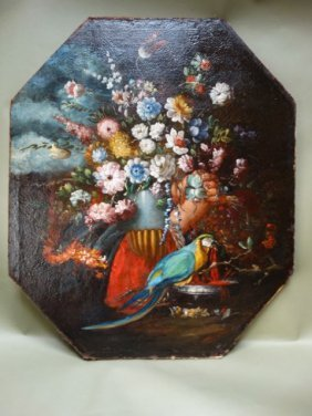 Spanish Colonial Floral Still Life With Parrot Oil On