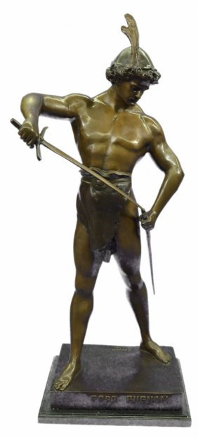 Post Pugnam Picault Bronze Statue On Marble Base