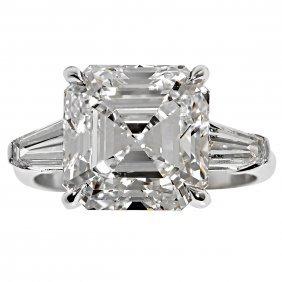 7.15 Carat Gia Cert Square Emerald Cut Diamond Ring