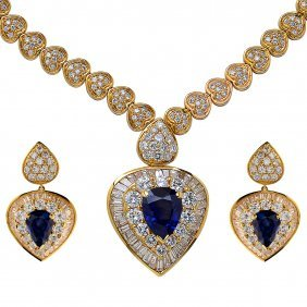 Elegant Sapphire Diamond Gold Necklace And Earring Set