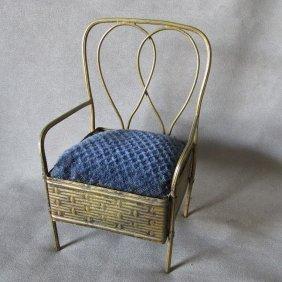 Antique Miniature Chair Hatpin Holder, Pincushion