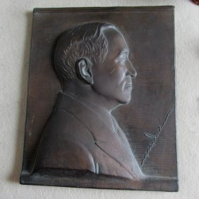 C1930s Cast Metal Plaque Of An Important Gentleman