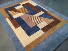 6x8 Contemporary Design Hand Made & Carved Wool Rug