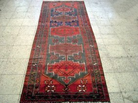 4x9 Persian Hamadan Runner Rug Hand Knotted Traditional