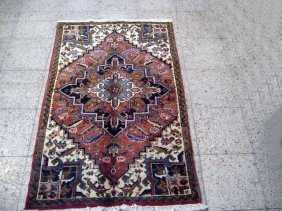 4x5 Persian Heriz Rug Hand Knotted Old