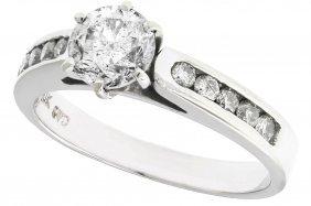 14k White Gold Round Diamond Accent Solitaire