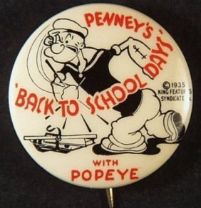 Vintage 1935 Penney's 'back To School Days' Popeye Pin
