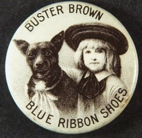 Vintage Buster Brown Blue Ribbon Shoes Celluloid & Tin
