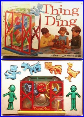 Vintage 1960's Thing Ding Robot Action Board Game,