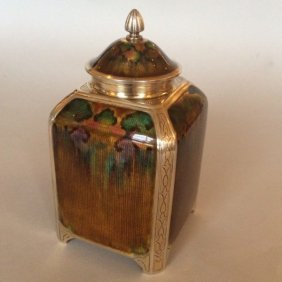 Guilloche And Vermeil Tea Caddy By David Andersen, Very