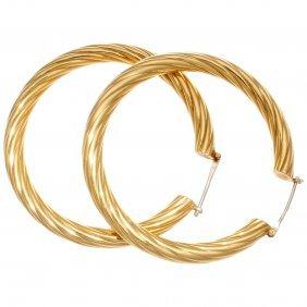 Large Fred Paris Gold Hoop Earrings
